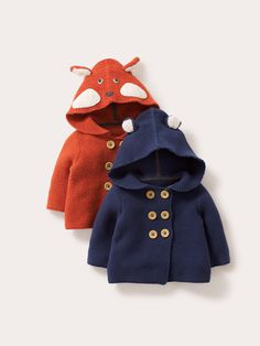 "Baby Boden Knitted Jacket: ""Irrestistibly sweet and super-soft, choose between simple ears or extra cheeky faces on the hoods. In four colours with a dash of cashmere in the yarn, customers say these are 'scrummy'. (Note: please do not eat them.) A perfect coat replacement."" #NewBritish"
