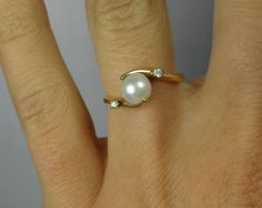 Sweet and Simple Vintage Bypass Design Pearl Ring  by MSJewelers, $285.00