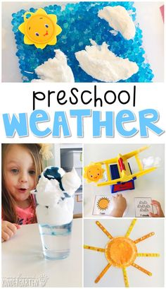 Tons of weather themed activities and ideas. Weekly plan includes books literacy math science art sensory bins and more! Perfect for tot school preschool or kindergarten. Preschool Curriculum, Preschool Themes, Preschool Science, Preschool Lessons, Preschool Classroom, Preschool Learning, Science Activities, Toddler Preschool, Toddler Activities