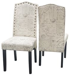 Merax Script Fabric Accent Chair Dining Room Chair with Solid Wood Legs, Beige,Set of 2
