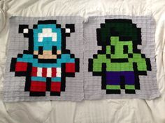 Marvel Avengers Captain America and Hulk  pixel crochet - 8 Bit Afghan rugs
