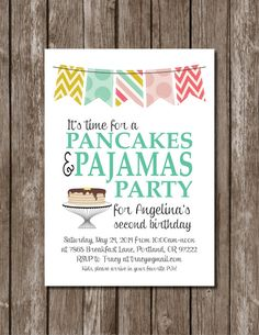 Winnie-The-Pooh baby shower by printablepartiesinc on etsy classroom ideas 4th Birthday Parties, Slumber Parties, Baby Shower Invitations, Birthday Invitations, Pancake Party, Pancake Breakfast, Pancakes And Pajamas, Twin Birthday, Pajama Party