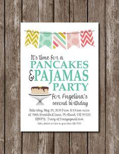 Pancakes + Pajamas Printable Party Invite//Birthday//Shower//Digital File on Etsy, $12.00