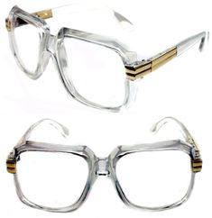 5f920f53b474 Details about Men s Hip Hop 80 s Vintage 607 Clear Lens Eye Glasses RUN DMC  Clear Gold Frame