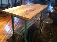 Sustainable Industrial Reclaimed Wood Table or Island by ReworxCT