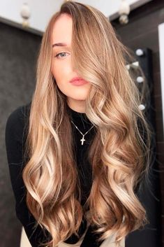 Trendy Hair Color : Caramel Brown Lowlights ❤️ If yo… Hair Color Highlights, Hair Color Dark, Blonde Color, Dark Hair, Red Hair, Dark Blonde Hair Pale Skin, Level 7 Hair Color, Caramel Hair With Blonde Highlights, Honey Blonde Hair