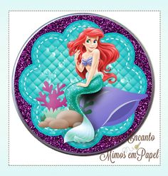 Little Mermaid Birthday, Little Mermaid Parties, Ariel The Little Mermaid, Shimmer And Shine Characters, Disney Scrapbook, Scrapbooking, Candy Bar Labels, Princess Invitations, Mermaid Pictures