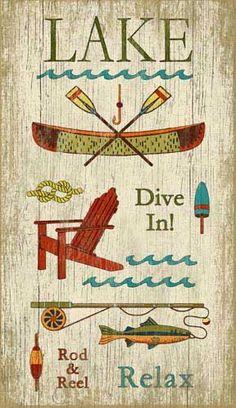 Vintage Lake Sign: Beach Decor, Coastal Home Decor, Nautical Decor, Tropical Island Decor & Beach Cottage Furnishings