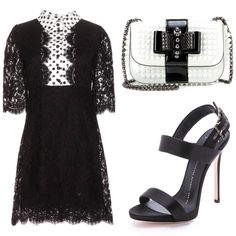 Black and white lace dress for a cocktail party outing