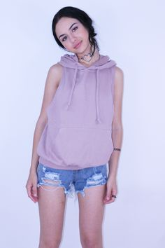 Dusty Pink Sleeveless Hoodie