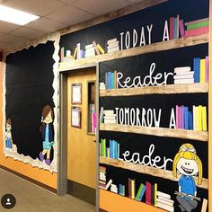 We can't get over this gorgeous hallway decor by School Library Decor, School Library Displays, Elementary School Library, School Classroom, Elementary Schools, School Display Boards, Middle School Libraries, Elementary Bulletin Boards, Reading Bulletin Boards