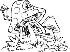mushroom house coloring pages - Totem Pole Animals Coloring Pages