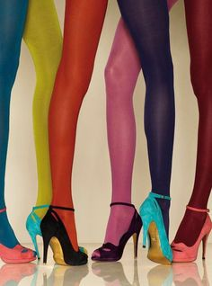 Colorful tights paired with a peep toe pump, super fun and flirty pop of color! Mix and match with colors and prints :)
