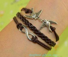 Hand woven bracelet with leather bracelet by Bestfriendgiftshop, $0.99
