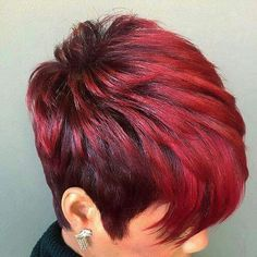 Beautiful short haircut and red burgundy color by IG: hairaucourant_bykhe