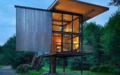 Kundig cabin seals up tight, stands up tall above the flood line.