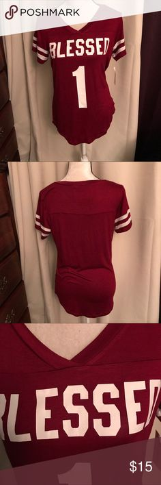BLESSED⚜️T-Shirt⚜️ Burgundy t-shirt, 🌷the material is very soft 🌷96% Rayon 4% Spsndex.🌷  Size L New with tag. 🌷.                    ALREADY LOW PRICE!                                             0907011 Occasion Tops Tees - Short Sleeve