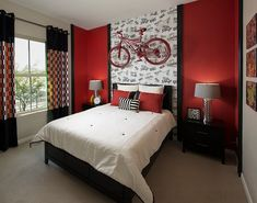 Wallpaper offers the perfect backdrop for the ravishing red bicycle in the bedroom
