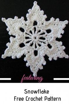 How To Crochet A Snowflake - Amigurumi Crochet Star Patterns, Christmas Crochet Patterns, Crochet Stars, Holiday Crochet, Crochet Snowflakes, Thread Crochet, Crochet Gifts, Crochet Motif, Crochet Angels