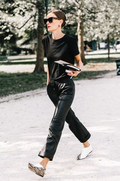 leather joggers | street style