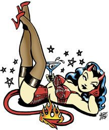 Vince Ray Martini Devil Girl Sticker by Poster Pop Pin Up Girl Tattoo, Pin Up Tattoos, Girl Tattoos, Dibujos Pin Up, Halloween Pin Up, Rockabilly Art, Pin Up Drawings, Girl Artist, Art Girl