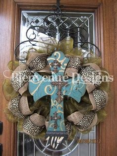 Cross wreath with burlap, animal print, & a touch of color