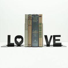 Love Metal Bookends   dotandbo.com