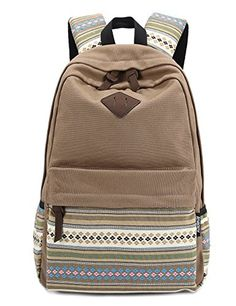 4773d424bb Stripe Canvas School Backpack College Campus Bag Rucksack Satchel Travel  Sports Outdoor Travel Gym Bag Schoolbag for Teens Girls Boys Students  (Brown)