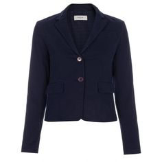 Paul Smith Women's Navy Cotton-Chino Cropped Blazer ($460) ❤ liked on Polyvore featuring outerwear, jackets, blazers, navy, blazer jacket, cropped blazer jacket, blue jackets, cropped blazer and navy blazer