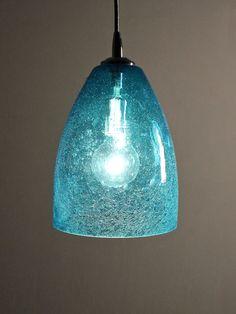 Aquamarine Glassware | aqua seeded glass pendant dome home shop gift sale aqua seeded glass ...