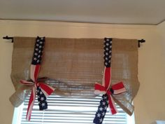 Handmade Burlap Tie Up Valance with american flag on Etsy, $35.99