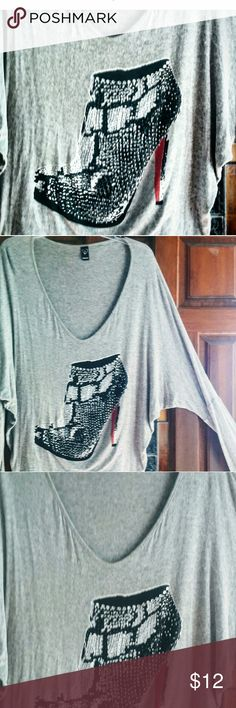 Vintage Windsor Fashions Embellished Dolman Tee L Vintage Windsor Fashions Embellished Crystal Boot Dolman Cotton  Gray Tee Size L  So 80's, Previously worn in good vintage condition Soft thin Rayon Cotton blend Windsor Tops