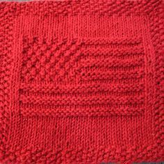 Embroidery Statin Stitch americanflag_lrg - Show your American pride by knitting this cloth with the American flag. This knit dishcloth pattern has a picture of the flag on it. The flag has 13 stripes and uses moss stitch to create stars in … Knitted Washcloth Patterns, Knitted Washcloths, Dishcloth Knitting Patterns, Crochet Dishcloths, Knit Or Crochet, Knitting Stitches, Knit Patterns, Free Knitting, Stitch Patterns