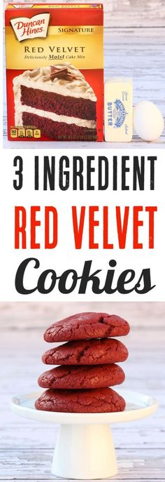 Red Velvet Cookies from Cake Mix Easy Recipe!  With just 3 ingredients you've got the perfect festive cookie for Christmas or any day!  Simple to make and SO delicious!
