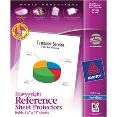 Avery Economy Clear Sheet Protectors 74090, Acid-Free, Box of 50 - Recipe Binder