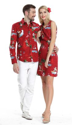 7c1c386e Couple Matching Men Long Sleeve Aloha Shirt and Women Dresses in Santa Red