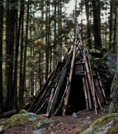 A teepee the Lost boys make trying to imitate the indians
