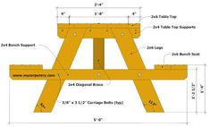 Picnic Table Designs - These free picnic table plans are great when you plan to build a picnic table. See the other picnic table plans available. Picnic Chairs, Build A Picnic Table, Wooden Picnic Tables, Wooden Projects, Diy Furniture Projects, Woodworking Projects Diy, Woodworking Plans, Diy Outdoor Furniture, Garden Furniture