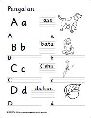 I finally completed my first set of Filipino worksheets for preschool kids! This is a 7-page set of handwriting worksheets designed to help a child practice writing the 28 letters of the Filipino alphabet (Alpabetong Filipino). Each page has four letters. Each letter is accompanied by a word (and its illustration) that begins with or … Alphabet Writing Worksheets, Handwriting Worksheets, Grammar Worksheets, Alphabet Activities, Classroom Bulletin Boards, Play Based Learning, Activity Sheets, Word Families, Writing Practice