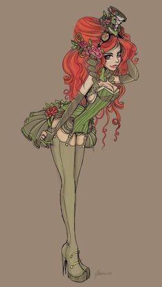 For my steampunk poison ivy cosplay Poison Ivy Cosplay, Poison Ivy Costumes, Steampunk Cosplay, Anime Sexy, Alphonse Mucha, Gotham Girls, Image Manga, Gotham City, Catwoman