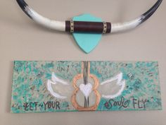 Quote, sign on canvas Let Your Soul Fly, music on Etsy, $40.00