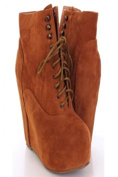 Tan Lace Up Front Faux Suede Ankle Booties Wedges