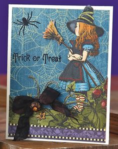 Vintage Trick or Treat Card by Cuthbertson Up Halloween, Halloween Cards, Fall Cards, Holiday Cards, Alice Book, Graphic 45, Pretty Cards, Favorite Holiday, Trick Or Treat