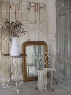 """To my friends remodeling in grey..this couldn't be a better tutorial. Keeping your French cottage look with silver grey, white. Look at the materials used to give us some dimension. I would love to start off w this room"""""""