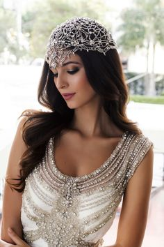 33 Ideas To Embellish Your Wedding Hairstyle With Hair Jewelry Headpiece Jewelry, Headpiece Wedding, Bridal Headpieces, Bridal Hair, Beaded Jewelry, Jewellery, Bridal Dresses, Wedding Gowns, Hair Jewels