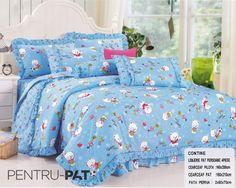 Lenjerie de pat bumbac pentru o persoana cu ursuleti si stelute