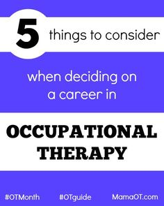 5 helpful things to consider when deciding on a career in occupational therapy! Education Humor, Career Education, Early Education, Hand Therapy, Music Therapy, Occupational Therapy Schools, Infant Lesson Plans, Career Exploration, Sensory Diet