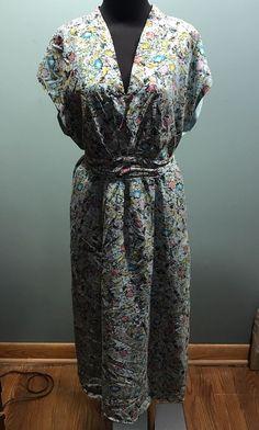 Sundance Blue Pink Yellow Floral 100% Silk Lined Belted Cap Sleeve Dress 14 Euc #Sundance #SashBelt #SummerBeach