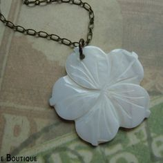 ALOHA - Necklace with mother of pearl hibiscus pendant, freshwater pe | JetaimeBoutique - Jewelry on ArtFire
