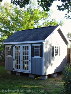 Garden Shed with Fiberglass Doors, Additional Window and Ridge Vent www.backyardunlim… - All About Backyard Studio, Backyard Sheds, Outdoor Sheds, Backyard Chickens, Garden Sheds, He Shed She Shed, She Sheds, Custom Sheds, Sheds For Sale